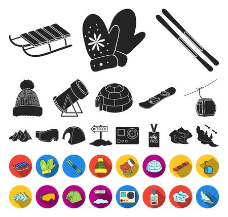 Ski resort and equipment black,flat icons in set collection for design. Entertainment and recreation bitmap symbol stock web illustration.