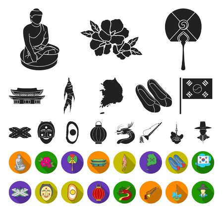 Country South Korea black,flat icons in set collection for design.Travel and attraction bitmap symbol stock web illustration. Stok Fotoğraf