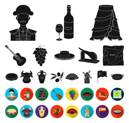 Spain country black,flat icons in set collection for design.Travel and attractions bitmap symbol stock web illustration.