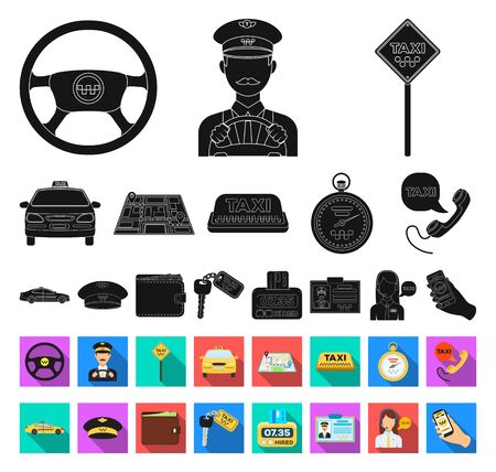 Taxi service black,flat icons in set collection for design. Taxi driver and transport bitmap symbol stock web illustration.