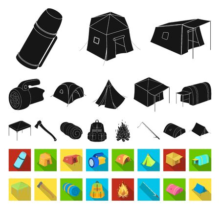 Different kinds of tents black,flat icons in set collection for design. Temporary shelter and housing bitmap symbol stock web illustration.