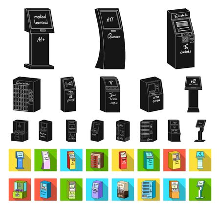 Variety of terminals black,flat icons in set collection for design. ATM and trading device bitmap symbol stock web illustration. 스톡 콘텐츠