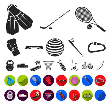 Different kinds of sports black,flat icons in set collection for design. Sport equipment bitmap symbol stock web illustration.