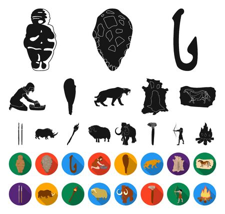 Life in the Stone Age black,flat icons in set collection for design. Ancient people bitmap symbol stock web illustration.