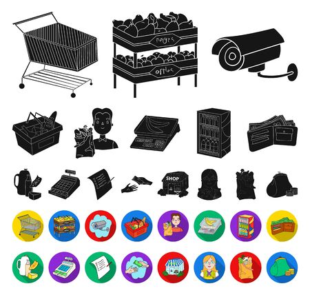 Supermarket and equipment black,flat icons in set collection for design. Purchase of products bitmap symbol stock web illustration. Stockfoto
