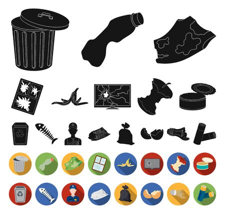 Garbage and waste black,flat icons in set collection for design. Cleaning garbage bitmap symbol stock web illustration. 스톡 콘텐츠