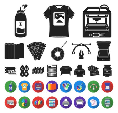 Typographical products black,flat icons in set collection for design. Printing and equipment bitmap symbol stock web illustration.