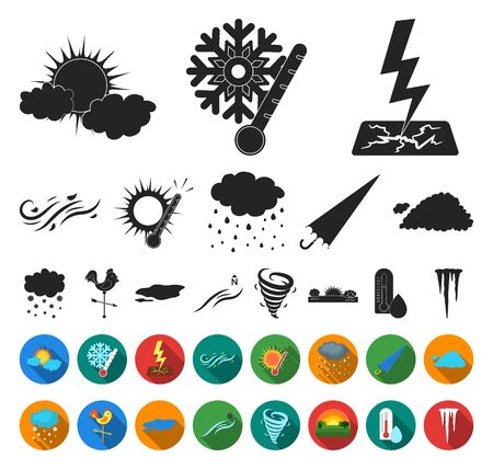 Different weather black,flat icons in set collection for design.Signs and characteristics of the weather bitmap symbol stock web illustration.