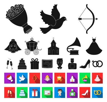 Wedding and Attributes black,flat icons in set collection for design.Newlyweds and Accessories bitmap symbol stock web illustration.