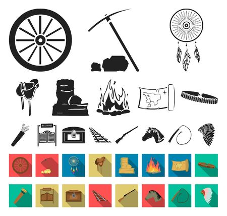 Attributes of the wild west black,flat icons in set collection for design.Texas and America bitmap symbol stock web illustration.