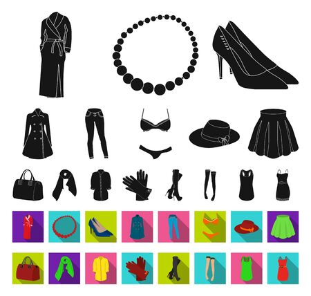 Womens Clothing black,flat icons in set collection for design.Clothing Varieties and Accessories bitmap symbol stock web illustration.