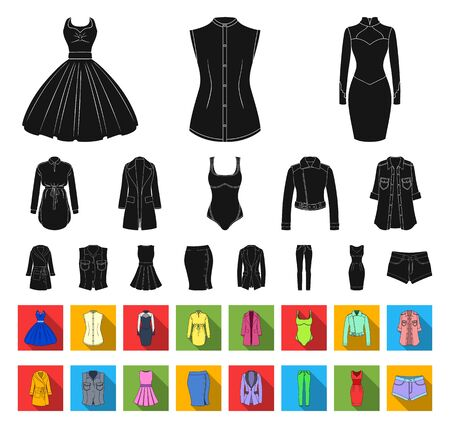 Womens Clothing black,flat icons in set collection for design.Clothing Varieties and Accessories bitmap symbol stock web illustration. Archivio Fotografico - 129161339