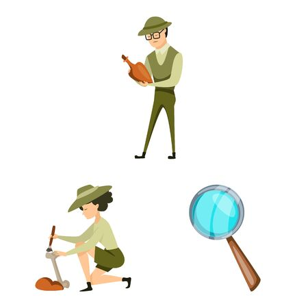 Isolated object of archaeology and historical icon. Collection of archaeology and excavation stock vector illustration. Иллюстрация