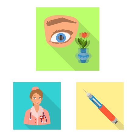Vector design of symptom and disease . Set of symptom and treatment vector icon for stock.