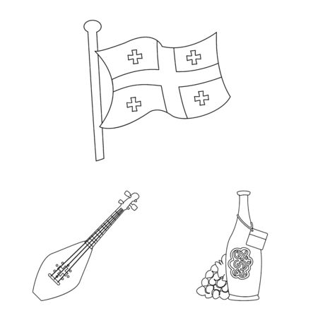 Isolated object of traditions and national icon. Collection of traditions and sightseeing stock symbol for web. Иллюстрация
