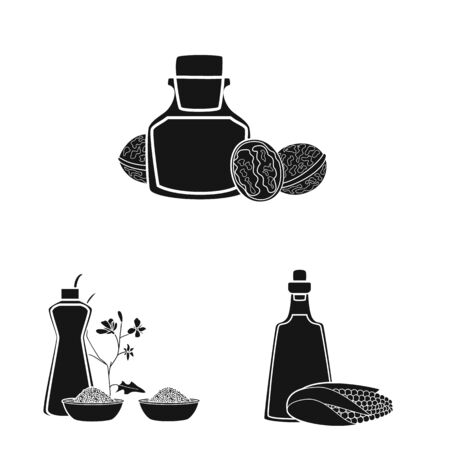 Isolated object of oil and agriculture icon. Collection of oil and glass vector icon for stock.