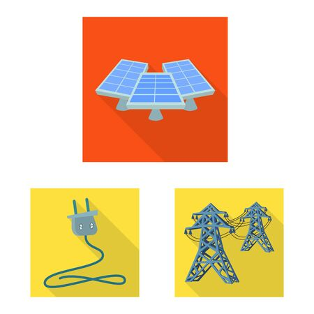 Vector illustration of Solar and panel . Set of Solar and green stock vector illustration. Foto de archivo - 129171018
