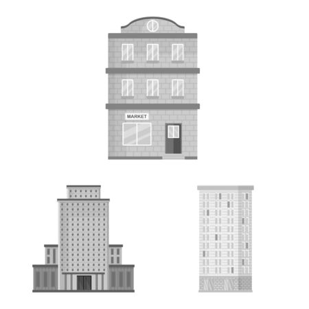 Vector illustration of construction and city sign. Set of construction and center vector icon for stock. Vettoriali