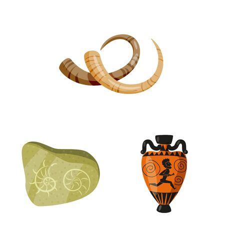 Vector illustration of archaeology and historical sign. Set of archaeology and excavation stock vector illustration. Standard-Bild - 129171238