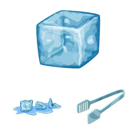 Isolated object of frost and water icon. Collection of frost and wet stock vector illustration.