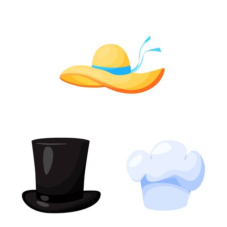 Isolated object of headgear and napper icon. Collection of headgear and helmet stock symbol for web. Ilustracja
