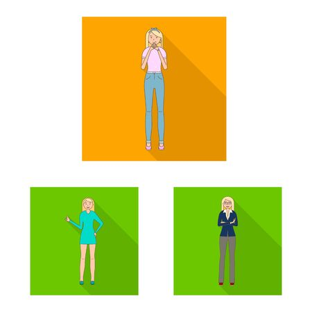 Isolated object of woman and body icon. Set of woman and style vector icon for stock. 向量圖像