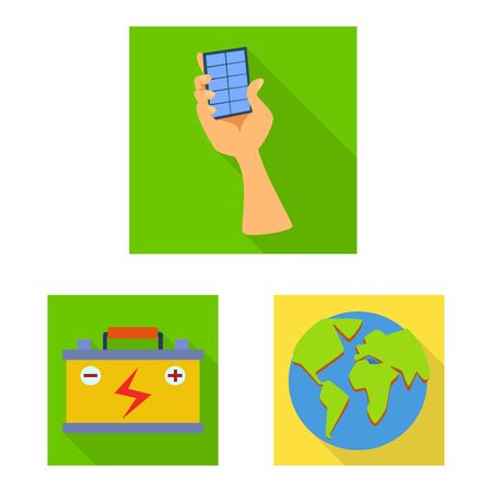 Vector design of Solar and panel symbol. Set of Solar and green stock symbol for web. Archivio Fotografico - 129171252