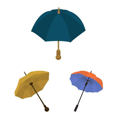 Isolated object of umbrella and rain icon. Collection of umbrella and weather stock symbol for web. Illustration