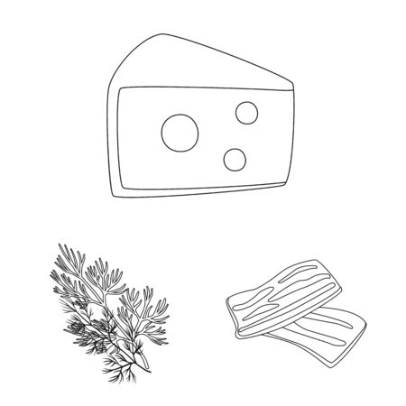 Isolated object of seasonin and ingredient symbol. Collection of seasonin and aroma stock symbol for web.  イラスト・ベクター素材