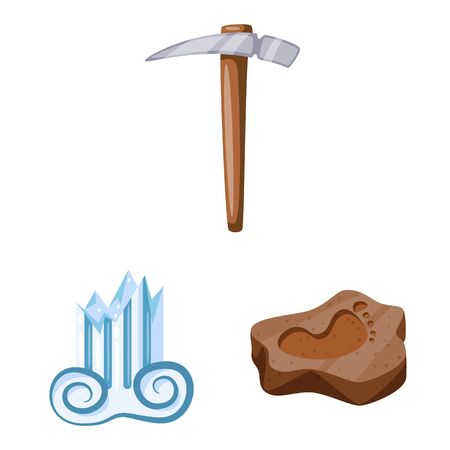 Isolated object of archaeology and historical icon. Collection of archaeology and excavation stock symbol for web.