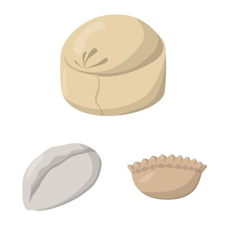 Vector illustration of dumplings and food sign. Collection of dumplings and stuffed stock symbol for web.