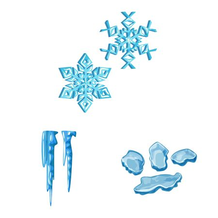 Vector illustration of frost and water . Set of frost and wet stock symbol for web. Illusztráció