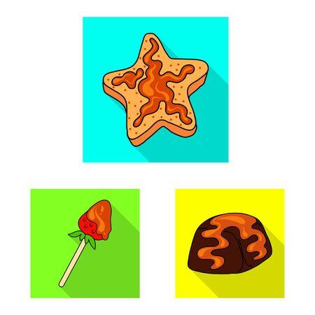Vector design of confectionery and culinary symbol. Collection of confectionery and colorful stock symbol for web. Ilustração