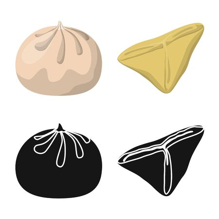 Vector illustration of products and cooking symbol. Set of products and appetizer vector icon for stock.  イラスト・ベクター素材
