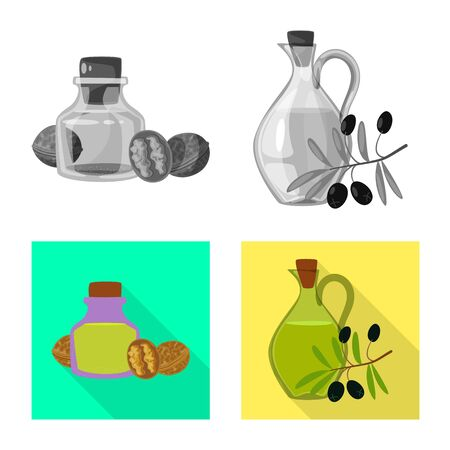 Vector illustration of healthy and vegetable symbol. Collection of healthy and agriculture vector icon for stock. Ilustração