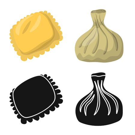 Vector design of products and cooking symbol. Collection of products and appetizer stock symbol for web.
