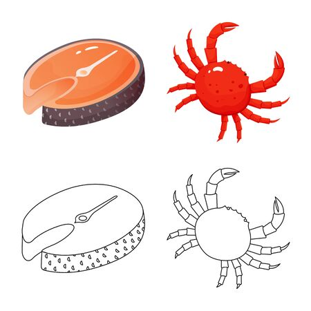 Vector illustration of fresh and restaurant icon. Set of fresh and marine vector icon for stock. Ilustracja