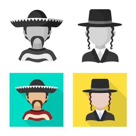 Vector illustration of imitator and resident symbol. Set of imitator and culture stock symbol for web.