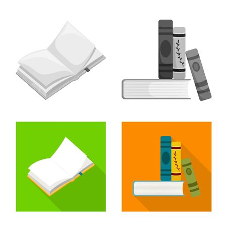 Isolated object of training and cover . Set of training and bookstore vector icon for stock.