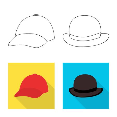 Isolated object of clothing and cap . Set of clothing and beret stock vector illustration.
