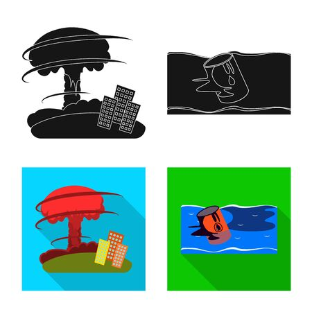 Vector illustration of weather and distress sign. Collection of weather and crash vector icon for stock. Stock Vector - 129172752