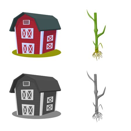 Vector illustration of agriculture and farming symbol. Collection of agriculture and plant stock symbol for web.