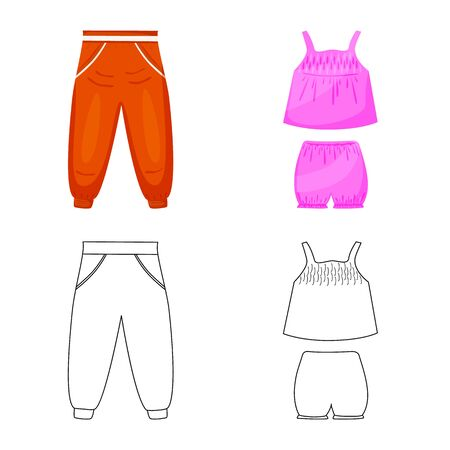 Isolated object of fashion and garment . Set of fashion and cotton stock symbol for web. 일러스트