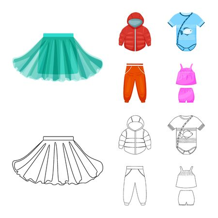 Isolated object of fashion and garment. Collection of fashion and cotton stock vector illustration.