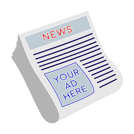 Classified ads in newspaper icon in colour style isolated on white background. Advertising symbol stock vector illustration.