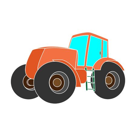 Combine harvesting .Green tractor with large wheels. Agricultural equipment for farmers.Agricultural Machinery single icon in colour style vector symbol stock illustration. Ilustração