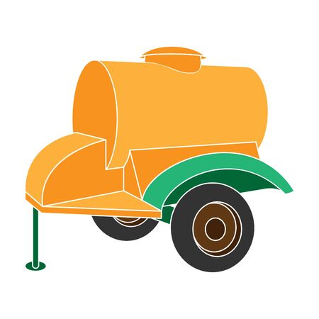colour trailer on wheels with yellow barrel. Agricultural machinery for watering plants.Agricultural Machinery single icon in colour style vector symbol stock illustration.