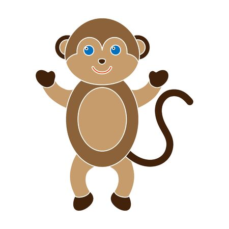 Monkey colour icon. Illustration for web and mobile design.