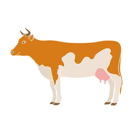 Cow.Animals single icon in colour style vector symbol stock illustration web. Ilustracja