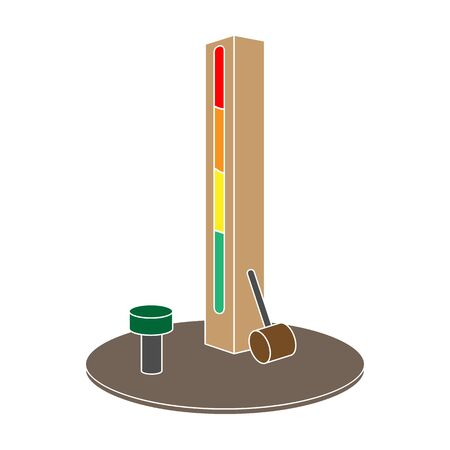 Entertainment on the impact force. Beat the hammer on the stand.Amusement park single icon in colour style vector symbol stock illustration.